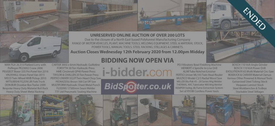 Online Timed Auction of polytunnel manufacturing company (ended)